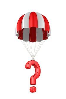 Domanda e paracadute su uno spazio bianco