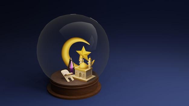 Corano o corano e moschea islamica nella cupola di vetro, illustrazione 3d rendering 3d.