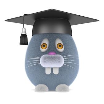 Coniglio e protezione di graduazione su bianco.