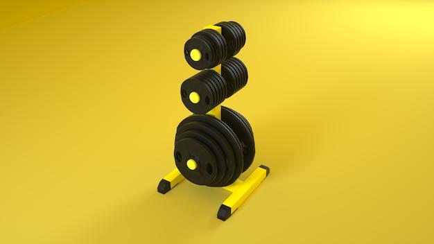 Rack pieno di diversi pesi del bilanciere neri. illustrazione 3d.