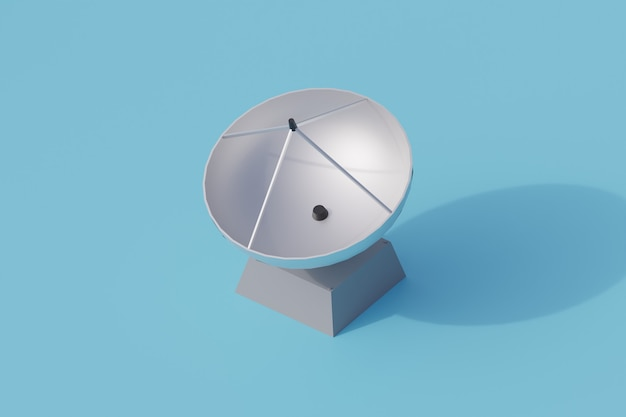 Radar singolo oggetto isolato. 3d render illustrazione isometrica
