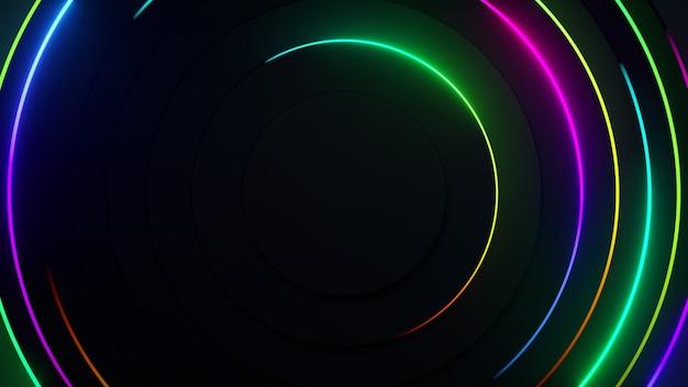 Sfondo al neon astratto radiale. le linee laser al neon si muovono in cerchio lungo una geometria scura circolare.