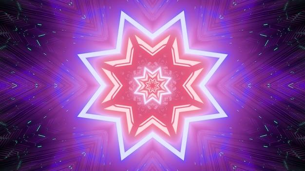 Sfondo visivo astratto radiante con stelle geometriche ripetitive con riflessi di luce al neon nei colori rosa e viola