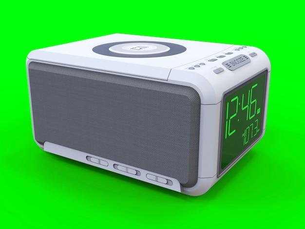 Radiosveglia su sfondo verde. rendering 3d.