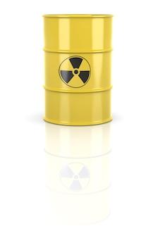 Barile radioattivo. i barili contengono rifiuti radioattivi. rendering 3d