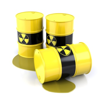 Barili radioattivi. i barili contengono rifiuti radioattivi. rendering di forme tridimensionali
