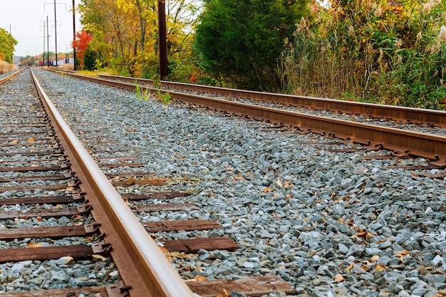 Scena della ferrovia con vagoni ferroviari stradali del treno merci