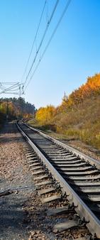 La ferrovia attraversa un bellissimo bosco autunnale con alberi colorati