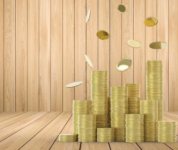 Monete della pioggia con pila d'oro