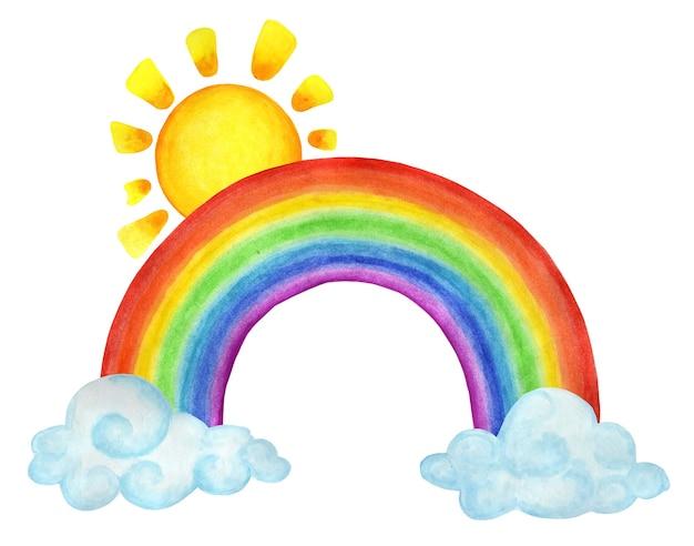 Arcobaleno tra le nuvole e il sole sopra di esso illustrazione del tempo per bambini handdrawn
