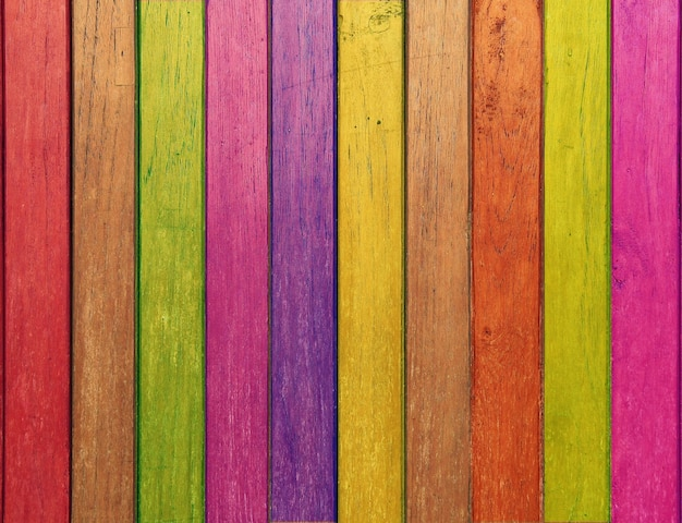 Fondo della parete della plancia di legno di colore arcobaleno