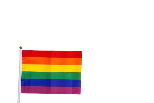 Colori vivaci bandiera arcobaleno in piedi per i diritti umani lgbt e l'orgoglio gay