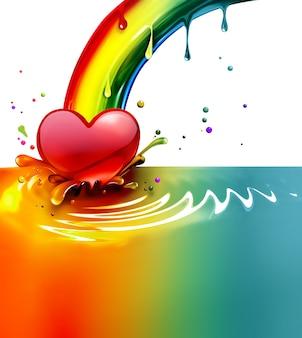 Spruzzi di vernice arcobaleno con un cuore