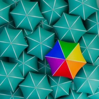 L'ombrello colorato dell'orgoglio arcobaleno si distingue dalla folla vista dall'alto 3d illustrazione concept render