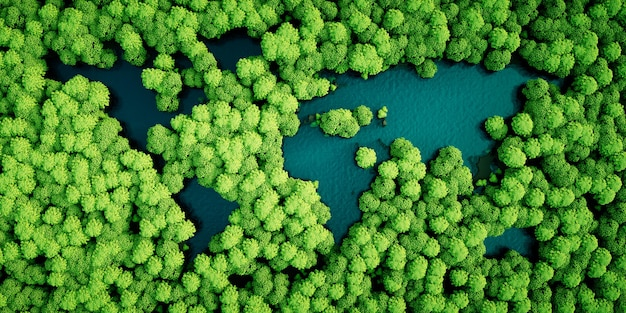 Laghi della foresta pluviale a forma di continenti del mondo. concetto di sviluppo sostenibile rispettoso dell'ambiente. illustrazione 3d.