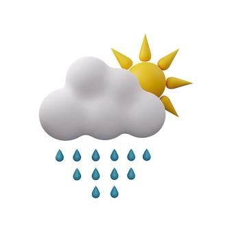 Nuvola di pioggia con l'illustrazione del sole 3d isolata su fondo bianco. icona 3d della nuvola con gocce di pioggia e sole