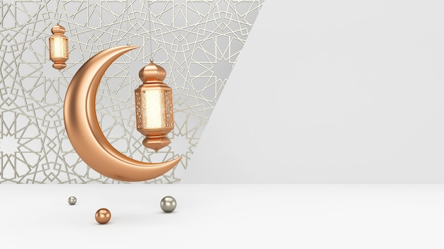 Le lanterne e la luna della candela del ramadan sono appese e oscillano su uno sfondo bianco pulito con ornamenti islamici