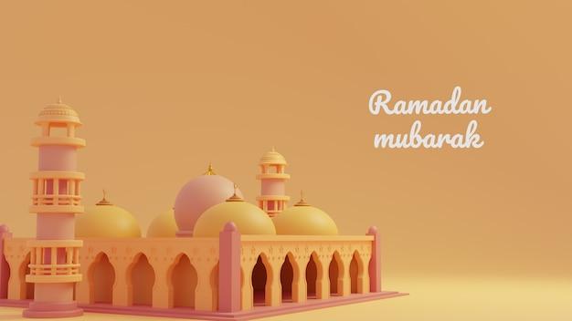 Modello di saluto di ramadan kareem con moschea musulmana sullo sfondo dell'ornamento dorato