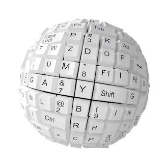 Tasti della tastiera casuali che formano una sfera su bianco