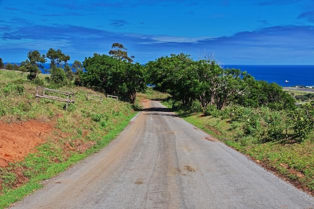 Rapa nui. la strada sull'isola di pasqua, cile