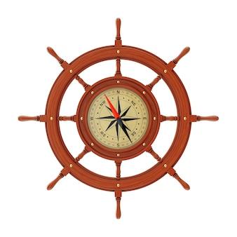 Bussola rara sotto forma di volante della nave di legno dell'annata su una priorità bassa bianca. rendering 3d