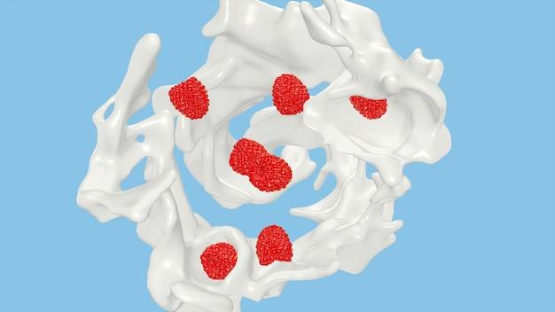 Lamponi che cadono nella spruzzata lattea, rappresentazione 3d.