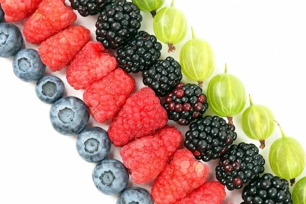 Lamponi, uva spina, more e mirtilli adagiati in diagonale su uno sfondo bianco. cibo sano vitaminico