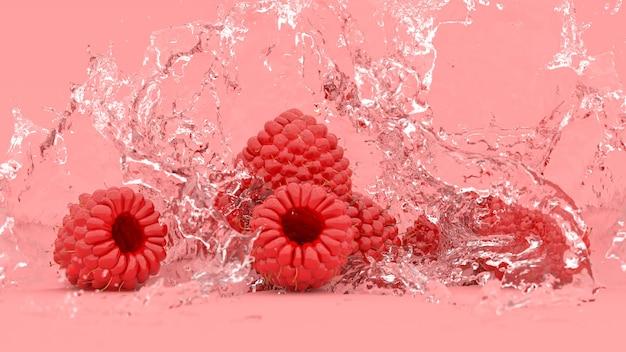 Lamponi su uno sfondo rosso in spruzzi d'acqua, illustrazione 3d