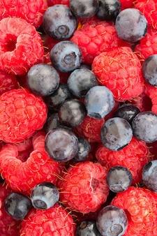 Lampone e mirtillo. macro di bacche biologiche fresche. sfondo di frutta.