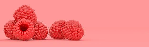Lampone su sfondo rosso, illustrazione 3d