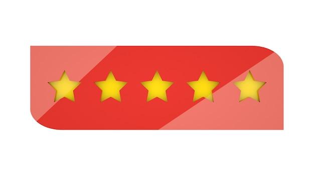 Stelle di valutazione o 5 recensioni di valutazione 3d illustrazione web ranking segni zodiacali. oro e rosso.