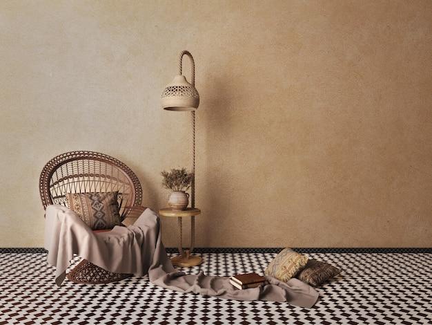 Sedia in rattan con lampada e vaso di fiori secchi nel soggiornomock up interior