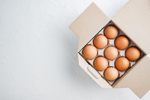 Uova di gallina crude nel set di scatole per uova, su sfondo bianco, vista dall'alto laici piana, con spazio per il testo copyspace