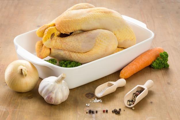 Pollo crudo pronto per essere cucinato in un piatto