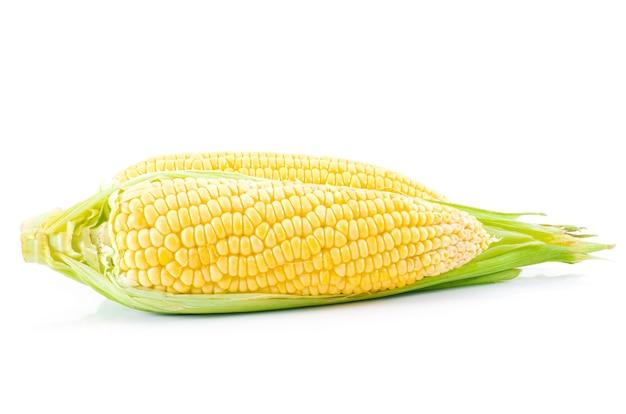Verdure di cibo di mais crudo su bianco