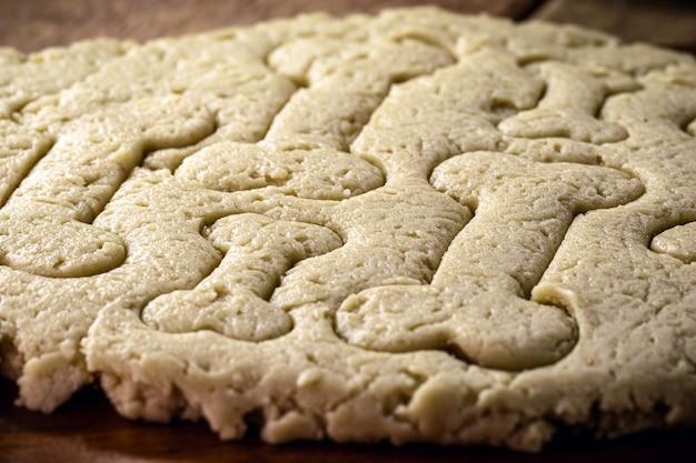 Impasto crudo per cibo per cani, biscotti per animali domestici cucinati a casa