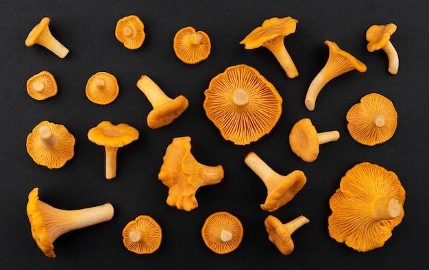 Funghi gallinacci freschi crudi su sfondo nero, vista dall'alto