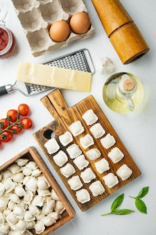 Tortellini italiani crudi dei ravioli con parmigiano e basilico freschi, pomodori messi sulla tavola di legno, su bianco