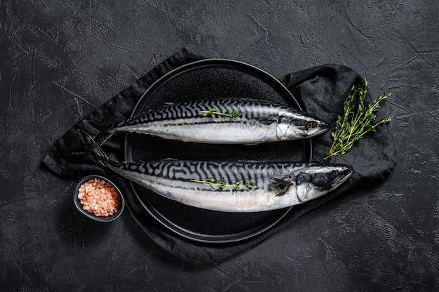 Pesce crudo di sgombro con timo e sale rosa. frutti di mare freschi sfondo nero. vista dall'alto. spazio per il testo