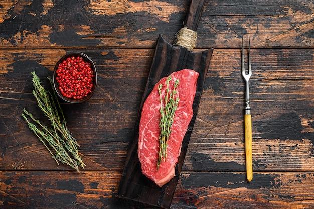 Bistecca di groppa cruda, carne di manzo