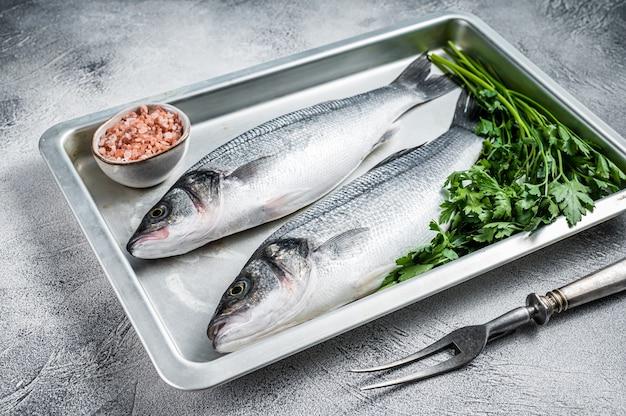 Branzino crudo o pesce branzino in una teglia da forno. sfondo bianco. vista dall'alto.