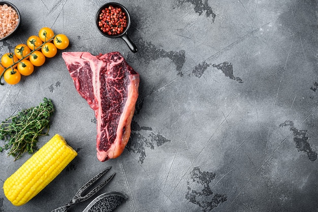 Bistecca alla fiorentina cruda con set di ingredienti, su pietra grigia