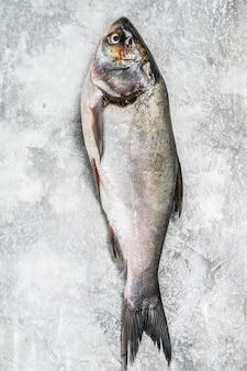 Carpa argentata di pesce intero crudo.