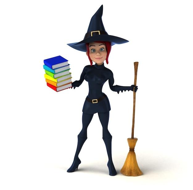 Illustrazione 3d della strega del lettore