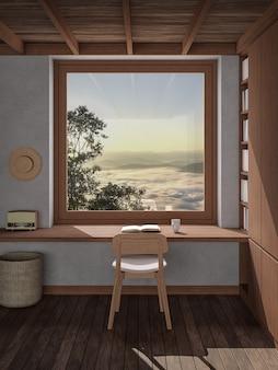 Tavolo da lettura vicino alla finestra al mattino rendering 3d con mare di nebbia e vista sulle montagne all'esterno
