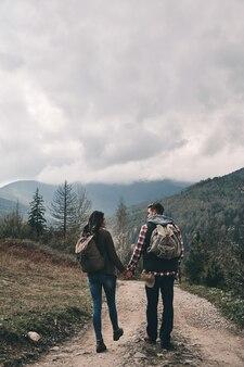 Pronto per nuove avventure. vista posteriore a tutta lunghezza di una giovane coppia che si tiene per mano durante le escursioni in montagna