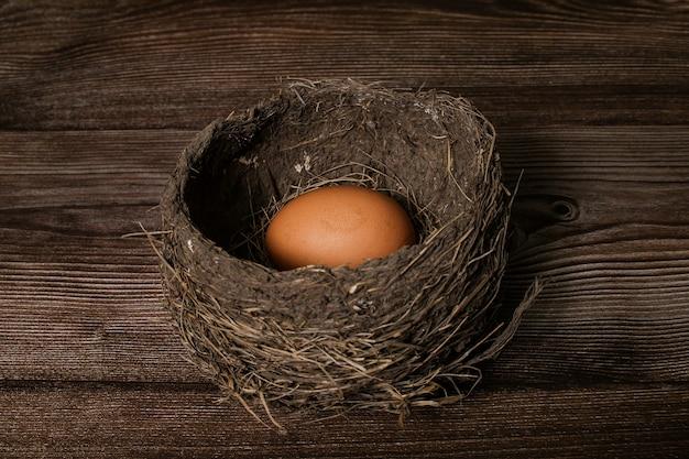 Nido di uccello reale con uovo isolato su un tavolo di legno.