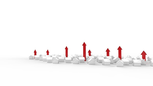 Crescita del business immobiliare con la freccia. illustrazione 3d.