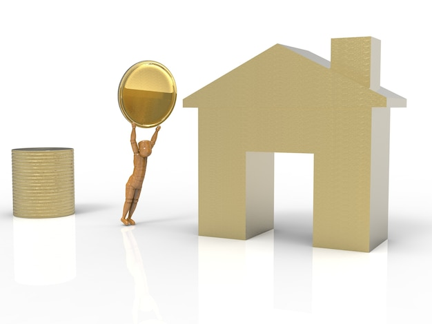 Concetto di investimento immobiliare con finta casa dorata e pila di monete d'oro