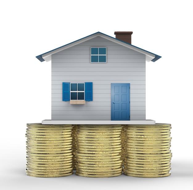 Concetto di investimento immobiliare con finte case e monete d'oro